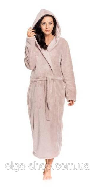 Халат женский домашний теплый банный зимний плюшевый длинный с капюшоном пояс Dobra Nocka 9154