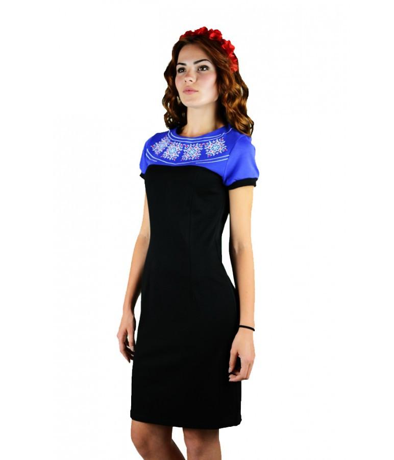 """Вышитое синее платье """"День-Ночь"""" М-1020-1 42"""