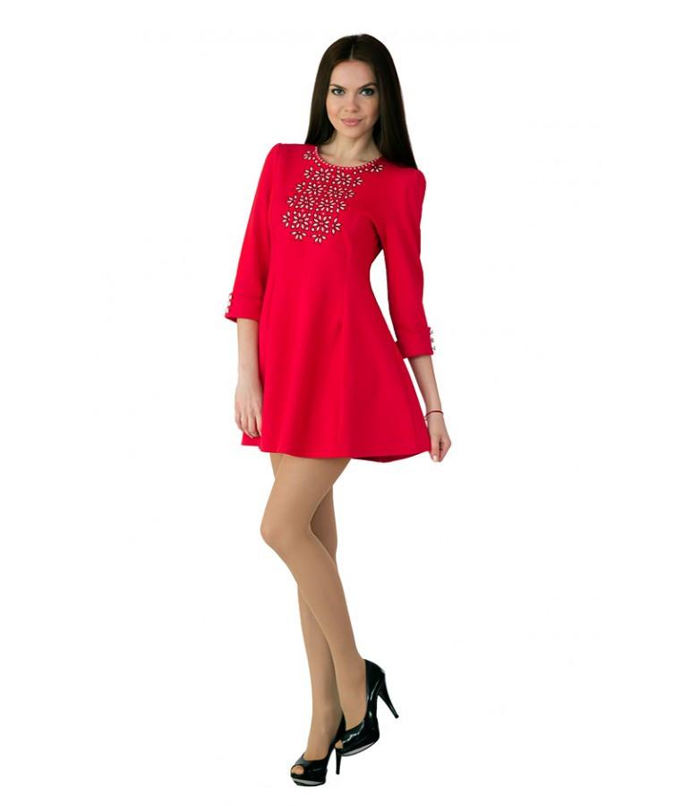 """Вышитое женское платье красное """"Ромашки"""" М-1040"""