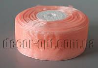 Лента органза оттенок персикового 4 см 50ярд  арт 07