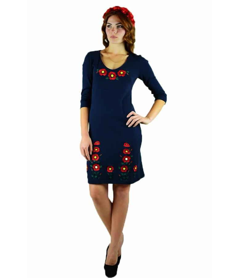 Вышитое платье гладью «Маки 3D» М-1025-1