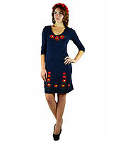 Вышитое платье гладью «Маки 3D» М-1025-1, фото 1