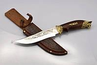 Нож охотничий Рысь, производство Украина(Спутник)+ кожаный чехол и паспорт