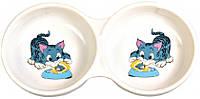 4014 Trixie Double Bowl миска керамическая двойная, 0,15л/11см
