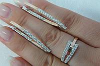 Ювелирный комплект серебряных украшений. Кольцо и серьги.