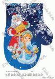 Ткань с рисунком для вышивки бисером  Новогодняя рукавичка Новогодние подарки