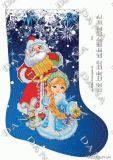 Ткань с рисунком для вышивки бисером Новогодний сапожок Дед Мороз и Снегурочка 2