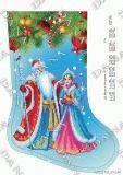 Ткань с рисунком для вышивки бисером Новогодний сапожок Дед Мороз и Снегурка 1