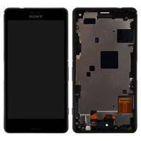 Дисплей для мобильных телефонов Sony D5803 Xperia Z3 Compact Mini, D5833 Xperia Z3 Compact Mini, черный, с рамкой, с сенсорным экраном, original (PRC)