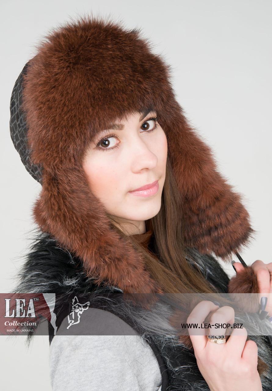 Женская шапка-ушанка(кролик первый сорт)