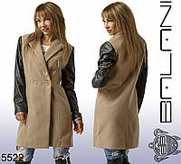 Пальто кашемировое женское (рукава эко-кожа),  доставка по Украине