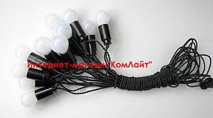 Ретро гирлянда 12 метров 19 ламп 25Вт Е27 с матовым стеклом +5 м доп.кабель