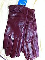 Кожаные женские перчатки цвет вишня