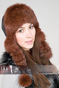 Женская шапка-ушанка из плащевки на кролике