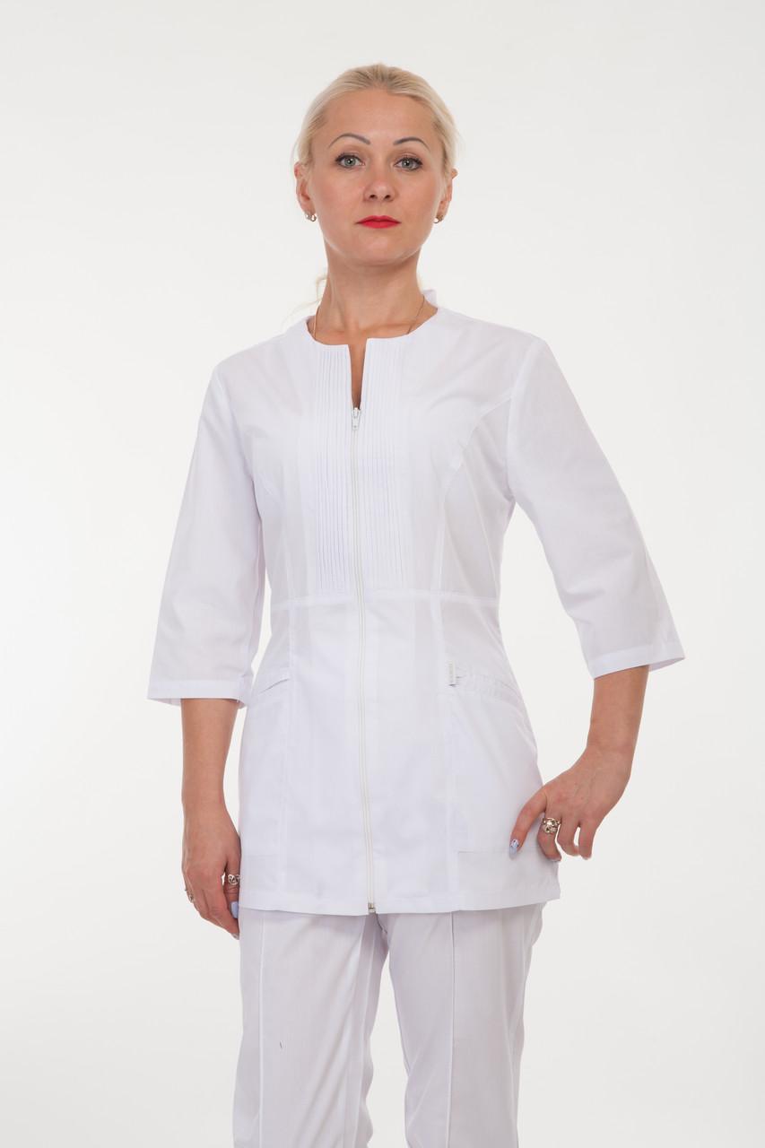 Женский медицинский костюм на молнии белого цвета