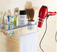 Полочка настенная подвесная с вешалкой отделением для зубных щеток фена, фото 1