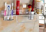 Полочка настенная подвесная с вешалкой отделением для зубных щеток фена, фото 2
