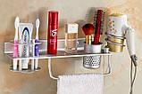 Полочка настенная подвесная с вешалкой отделением для зубных щеток фена, фото 3