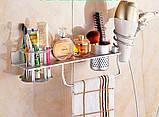 Полочка настенная подвесная с вешалкой отделением для зубных щеток фена, фото 4