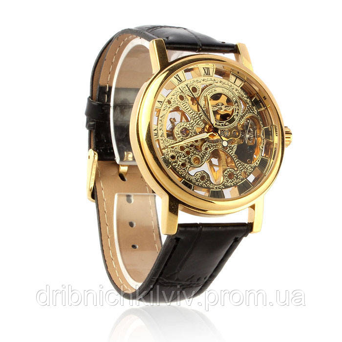 Часы Winner Skeleton  Золотистые. Механика
