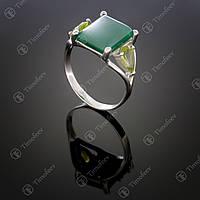 Серебряное кольцо с агатом и хризолитом. Артикул П-104