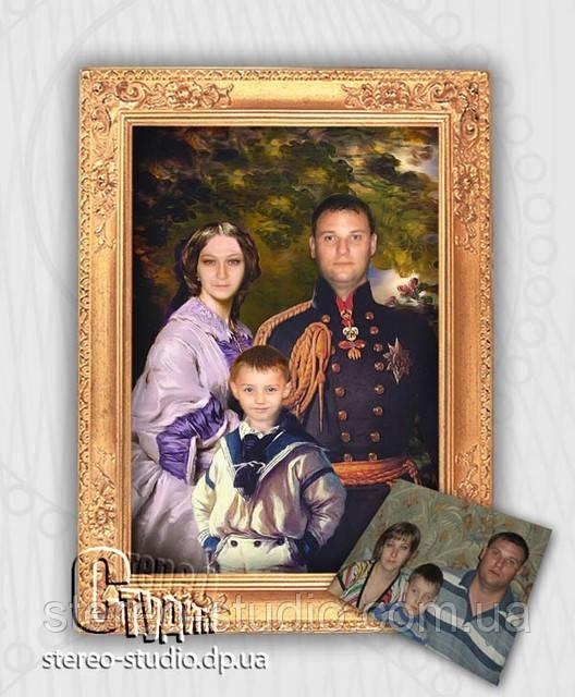 Семейный портрет под масло 40*50 по фотографии