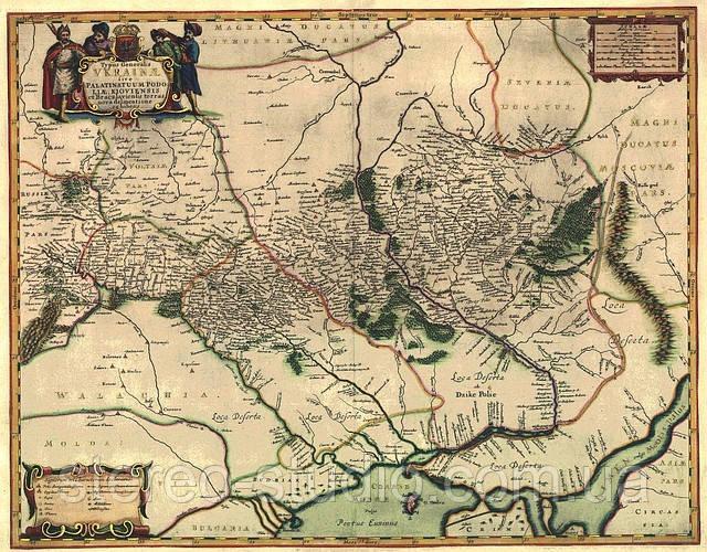 Старая карта Украины Боплана