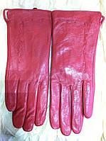 Женские кожаные тёмно розовые  перчатки 8.5