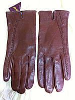 Женские кожаные коричнвые  перчатки 6.5