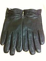 Женские кожаные тёмно коричневые  перчатки с драпировкой 7