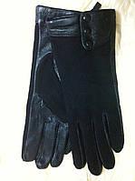 Женские перчатки  комбинированные замша с кожей