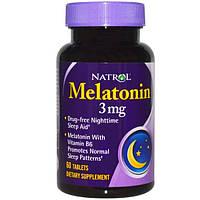 Мелатонин 60 таб 3 мг (с витамином В6) снотворное, улучшение качества сна замедление старения Natrol USA