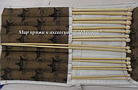 Набор прямых бамбуковых спиц в чехле