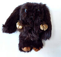 Игрушка заяц из натурального меха коричневого цвета, фото 1
