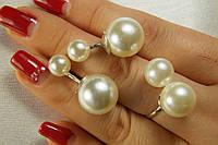 Набор серебряных украшений с крупным жемчугом. Стильные шары