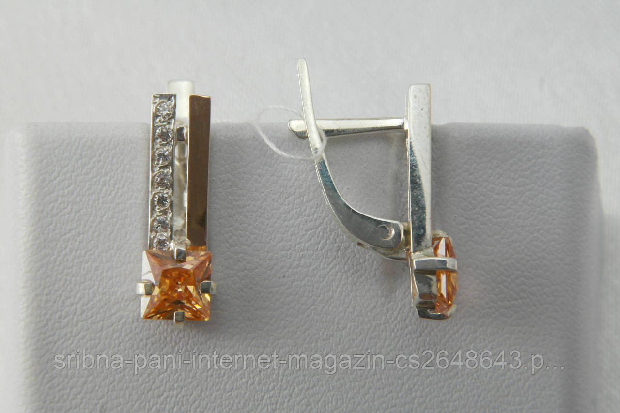 Серьги из серебра 925 с фианитами и золотом  продажа, цена в ... 00d741da821
