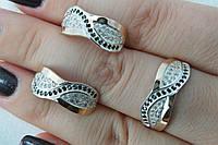 Гарнитур серебряных украшений с золотом и фианитами