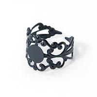 Основа для кольца Латунь, Филигранная, Цвет: Черный, Размер: Диаметр 18мм, Длина 16мм, Толщина 0.7мм, Размер Основы 8мм, (УТ100005436)