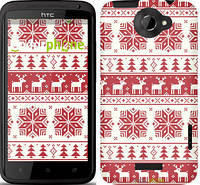 """Чехол на HTC One X новый год и красные олени """"1487c-42"""""""