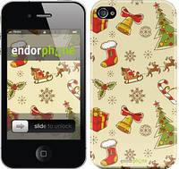 """Чехол на iPhone 4s Новогодняя текстура v2 """"1483c-12"""""""