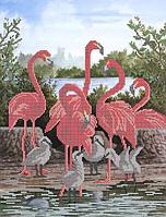 Схема для вышивки бисером Семейство фламинго КМР 3084