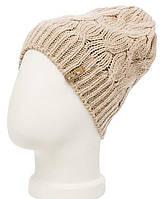 Женская вязаная шапка - носок в стиле Лало, объемной крупной вязки косами.