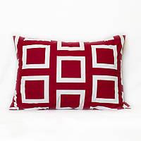 Подушка декоративная с геометрическим рисунком красно-белая гамма