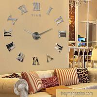 Купить большие настенные часы Римские зеркальные, серебро