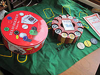 Покерный набор, набор для покера с номиналом на 240 фишек в металлической коробке