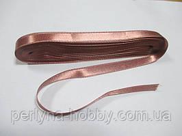 Стрічка атласна  двостороння 1 см ( 10 метрів) рожево-бежева G000
