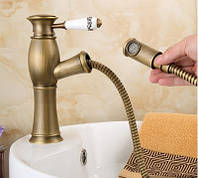 Смеситель кран однорычажный в ванную комнату для умывальника бронза, фото 1