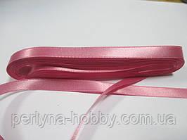 Стрічка атласна двостороння 1 см ( 10 метрів) рожева
