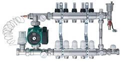 Коллектор водяного теплого пола HeatPol 2-10 контуров в сборе