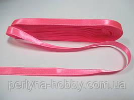 Стрічка атласна двостороння 1 см ( 10 метрів) рожева яскрава G 003